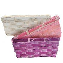 Cesta de chips cuadrada violeta / blanco / rosa 8pcs