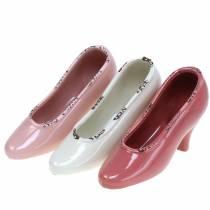 Macetero Zapato Mujer Crema Cerámica, Rosa, Rosa Surtido 20 × 6cm H12cm 3pcs
