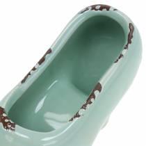 Macetero Zapato Mujer Ceramic Turquesa, Verde, Azul Gris Surtido 14 × 5cm H7cm 6pcs