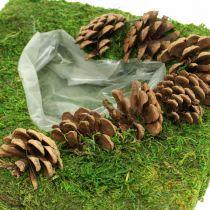 Cojín vegetal corazón musgo y conos cuadrado 25 × 25cm