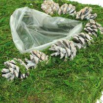 Cojín vegetal corazón musgo y conos, blanco lavado 25 × 25cm