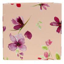 Bolsa de papel 12cm x 12cm rosa con patrón 8pcs