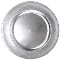 Plato de plástico 25cm plateado con efecto hoja de plata