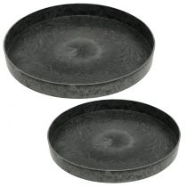 Juego de 2 platos de plástico gris Ø22cm - 27cm