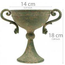 Taza con asas, copa de metal, ánfora para plantar Ø14cm H18cm