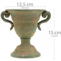 Ánfora de metal, copa para plantas, copa con asas Ø12,5cm H15cm