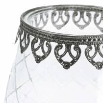 Copa decorativa de vidrio con base de metal Ø16cm H23.5cm