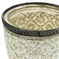 Vaso de cristal candelita Farmer's silver floral Ø9cm H13,5cm