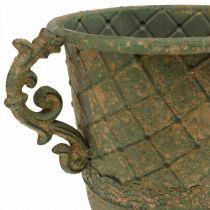 Taza para plantar, cáliz con asas, recipiente de metal aspecto antiguo Ø15.5cm H23.5cm