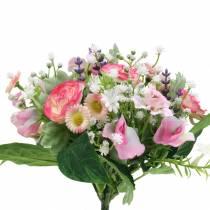 Ramo artificial con ranunculus y bellis rosa, blanco Ø20cm
