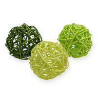 Bolas de ratán Ø4.5cm surtido verde 30ud