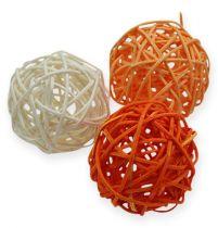 Bolas de ratán 4,5cm Albaricoque naranja 30pcs