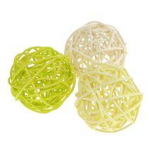 Rattanball Mix Ø5cm verde claro verde pálido blanqueado 30pcs.