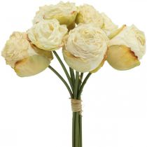 Rosas artificiales, flores de seda, ramo de rosas blanco crema L23cm 8pcs