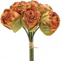 Ramo de rosas, flores de seda, rosas artificiales naranjas, aspecto antiguo L23cm 8ud