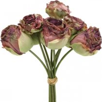 Rosas rosa antiguo, flores de seda, flores artificiales L23cm 8ud