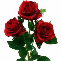 Rosa roja rosas artificiales flores de seda 3 piezas