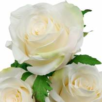 Rosa blanca con tallo, flor de seda, rosa artificial 3 piezas