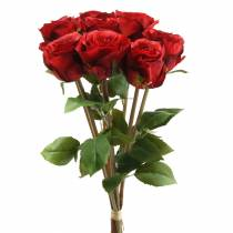 Rosa en manojo artificial rojo 36cm 8pcs