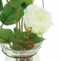 Rosa en el cristal blanco H23cm
