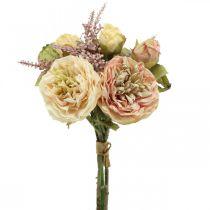 Rosas flores artificiales en un ramo de ramo otoñal crema, rosa Al36cm