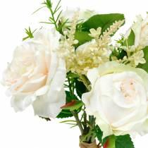 Ramo de rosas artificiales Flores de seda color crema en un ramo