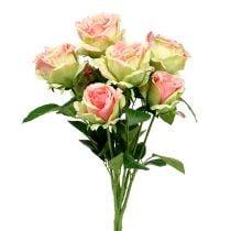 Rosal artificial verde, rosa 55cm