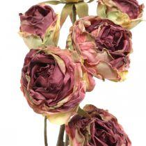 Rosa artificial, decoración de mesa, flor artificial rosa, rama de rosa aspecto antiguo L53cm