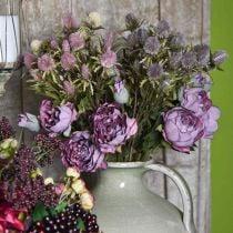 Rama de rosa, flor de seda, decoración de mesa, rosa artificial púrpura aspecto antiguo L53cm