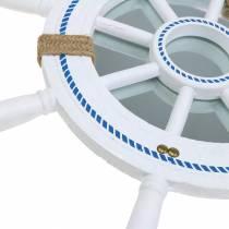 Decoración nautica Rueda de timón con espejo Blanco Ø40cm