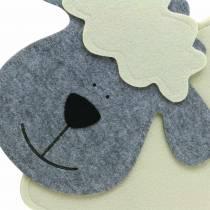 Ovejas de pie fieltro crema, gris 51 × 7cm H47cm