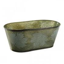 Macetero para otoño, decoración de metal con decoración de hojas verde L38cm H15cm