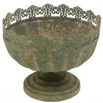 Jardinera rústica, cuenco con pie, decoración de metal, aspecto antiguo, Ø18,5cm H15cm