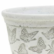 Macetero blanco con mariposas 17cm x 12cm H8cm 2pcs