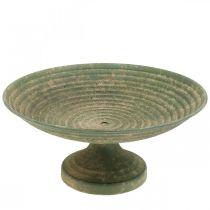 Cuenco con pie, cuenco decorativo, recipiente de metal, aspecto antiguo, Ø26cm H12cm
