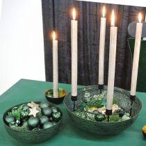 Cuenco decorativo jardinera vintage de metal verde Ø31cm