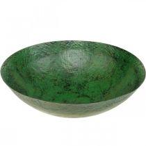Cuenco decorativo grande de metal verde decoración de mesa vintage Ø42cm