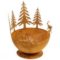 Cuenco decorativo con trineo de Navidad, decoración de Adviento, recipiente de metal, rejilla de acero inoxidable Ø25cm H32.5cm