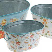 Cuencos para plantas, primavera, jardinera flores / pájaros, contenedor de metal ovalado L39 / 31 / 24.5cm juego de 3