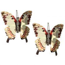 Mariposa dorada brillante en clip 12pcs