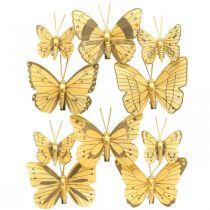 Mariposa de primavera con clip decoración de primavera dorada 6 cm 10 piezas en un juego