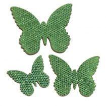 Decoración para controlar Butterfly Green-Glitter 5/4 / 3cm 24 piezas