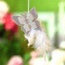 Mariposa de fieltro para colgar decoración de boda crema 16cm