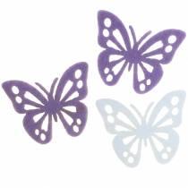 Decoración de mesa de fieltro de mariposa blanco púrpura surtido 3.5x4.5cm 54 piezas