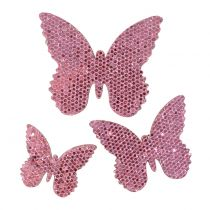 Decoración para controlar Butterfly Pink-Glitter 5/4 / 3cm 24 piezas