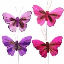 Mariposa de plumas con alambre 7cm rosa lila 24pcs