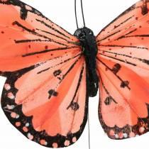 Mariposa de plumas con alambre color salmón y morado 10cm 12 piezas