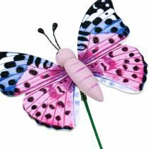 Mariposa decorativa en palo, flor, decoración de primavera, 16ud