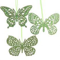 Decoración para colgar Mariposa Verde Brillo8cm 12pcs