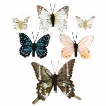 Mariposa decorativa con clip de metal natural surtido Al 4,9cm / 5,8cm / 7,4cm 6 piezas